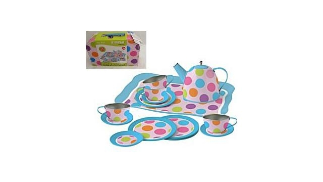 Simply for Kids Tinnen Theeservies Confetti met Koffertje