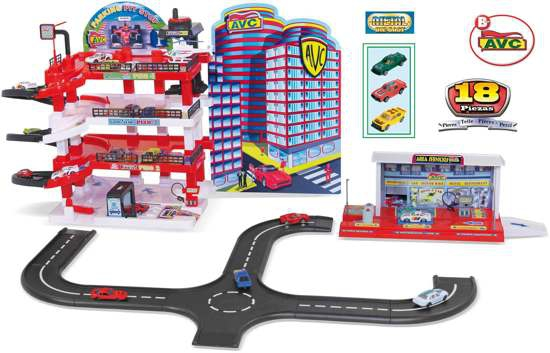 Pit-Stop Garage - Met Tankstation, Circuit, 3 Auto's en een Helikopter