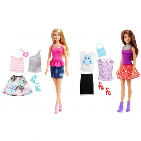 Barbie Pop met 2 Outfits Assorti