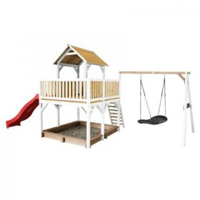 Atka Play Tower with Roxy Nest Swing Brown/white - Red Slide