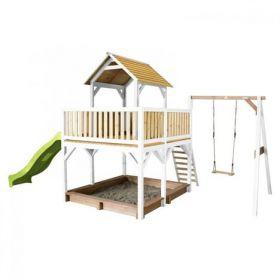 Atka Play Tower with Single Swing Brown/white - Lime green slide
