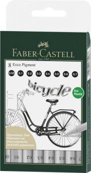 Faber Castell FC-166008 Tekenpen FC Ecco Pigment 8st. Lijn Breedtes 0.05 - 0.7 Mm