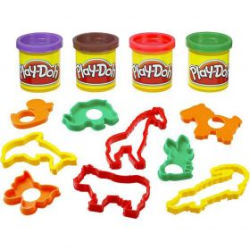 Play-Doh Emmer Dieren met 4 Potjes Klei en 9 Dierenvormpjes
