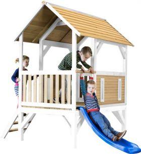 Akela Playhouse Brown/white - Blue Slide