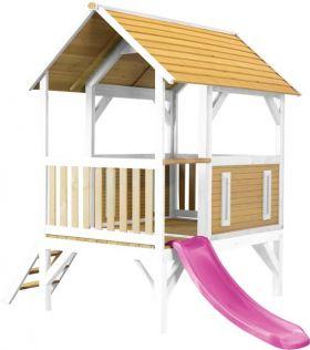 Akela Playhouse Brown/white - Purple Slide
