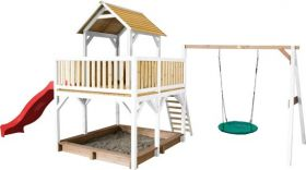 Atka Play Tower with Summer Nest Swing Brown/white - Red Slide
