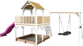 Atka Play Tower with Roxy Nest Swing Brown/white - Purple Slide