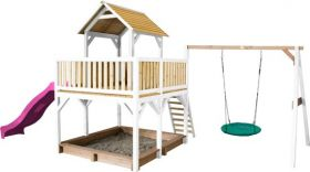Atka Play Tower with Summer Nest Swing Brown/white - Purple Slide