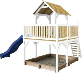 Atka Play Tower Brown/white - Blue Slide