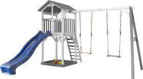Beach Toren met dubbele schommel Grey/white - Blue Slide