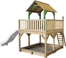 Atka Play Tower with Summer Nest Swing Brown/white - White Slide