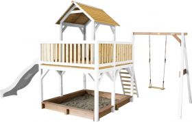 Atka Play Tower with Single Swing Brown/white - White Slide