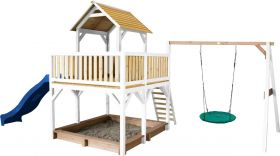 Atka Play Tower with Summer Nest Swing Brown/white - Blue Slide