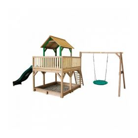 Atka Play Tower with Summer Nest Swing Brown/green - Green Slide
