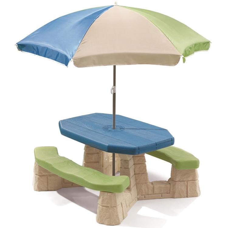 Kinderpicknicktafel met Parasol Aqua